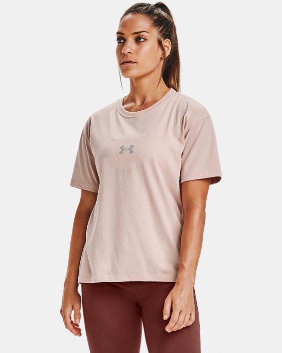 T-shirt à manches courtes UA Wordmark Graphic pour femme, Brown, pdpMainDesktop image number 1