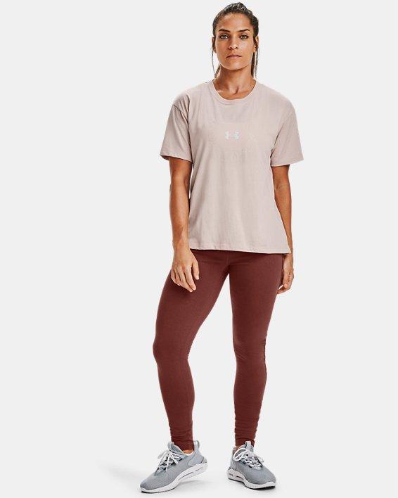 T-shirt à manches courtes UA Wordmark Graphic pour femme, Brown, pdpMainDesktop image number 0