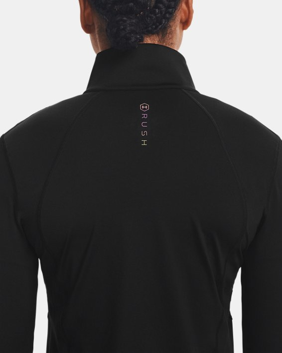 Damen UA RUSH™ Oberteil mit durchgehendem Zip, Black, pdpMainDesktop image number 6