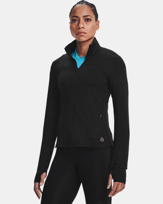 Damen UA RUSH™ Oberteil mit durchgehendem Zip, Black, pdpMainDesktop image number 1