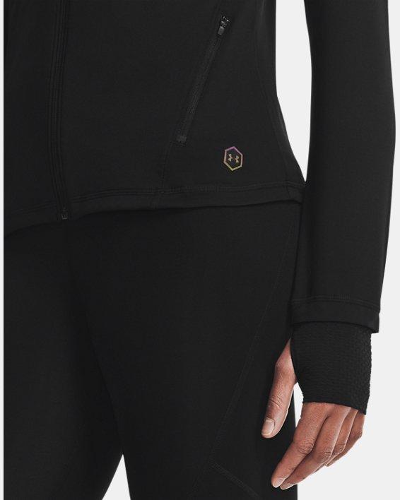 Damen UA RUSH™ Oberteil mit durchgehendem Zip, Black, pdpMainDesktop image number 3