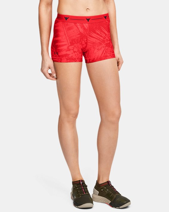 Women's Project Rock HeatGear® Shorty, Red, pdpMainDesktop image number 0