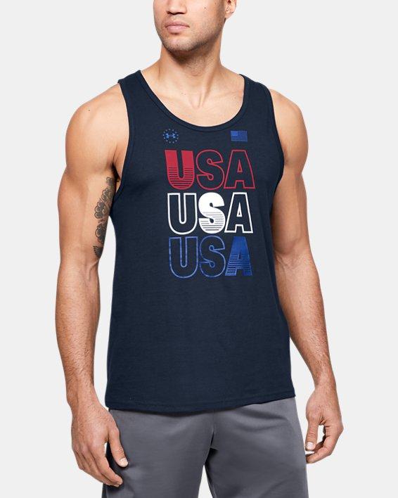 Men's UA Freedom USA Tank, Navy, pdpMainDesktop image number 0