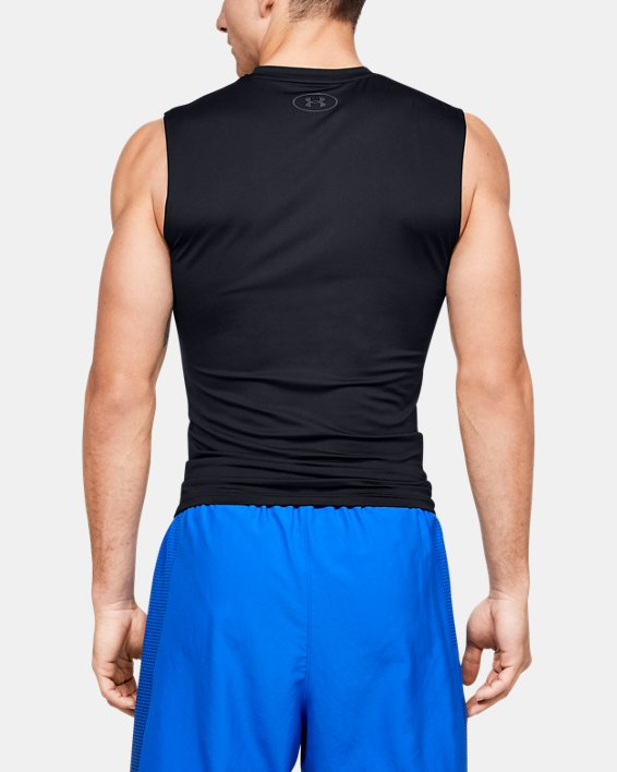 Men's HeatGear® Armour Sleeveless Compression, Black, pdpMainDesktop image number 2