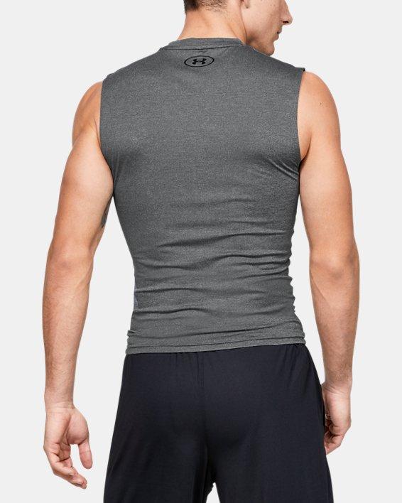 Men's HeatGear® Armour Sleeveless Compression, Gray, pdpMainDesktop image number 2