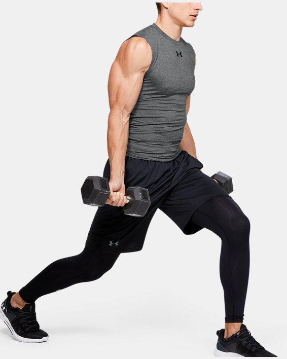 Men's HeatGear® Armour Sleeveless Compression, Gray, pdpMainDesktop image number 1