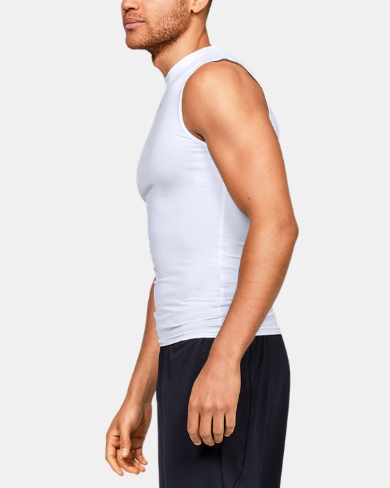Men's HeatGear® Armour Sleeveless Compression, White, pdpMainDesktop image number 3