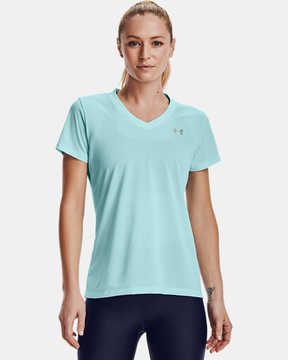 Women's UA Tech™ Bubble Heather Short Sleeve V-Neck, Blue, pdpMainDesktop image number 0