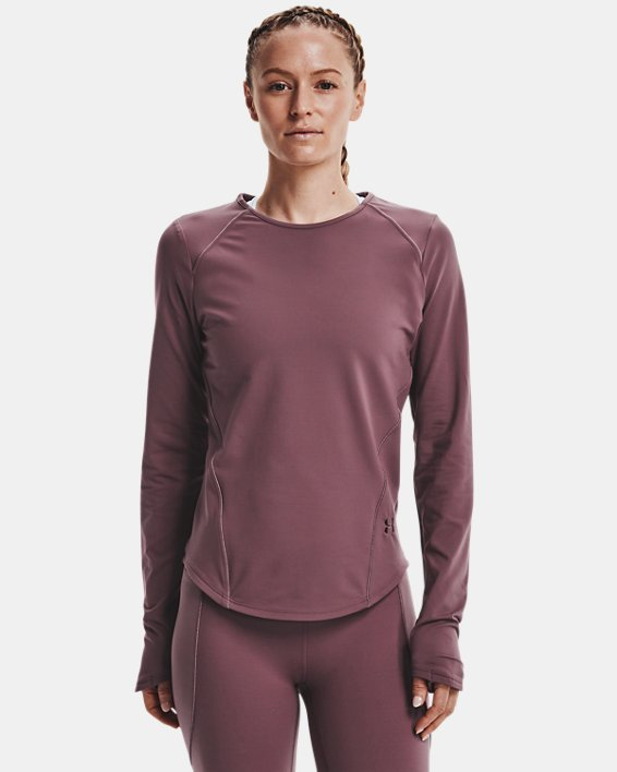 Women's UA HydraFuse Crew Long Sleeve, Purple, pdpMainDesktop image number 1
