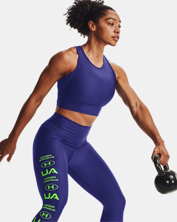 Women's HeatGear® Armour Crop Tank, Blue, pdpMainDesktop image number 5