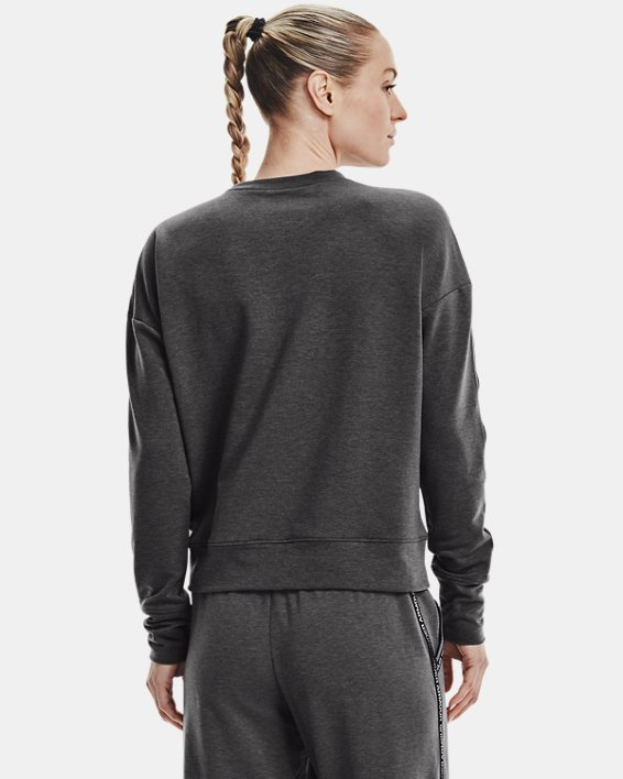 Women's UA Rival Terry Taped Crew, Gray, pdpMainDesktop image number 2