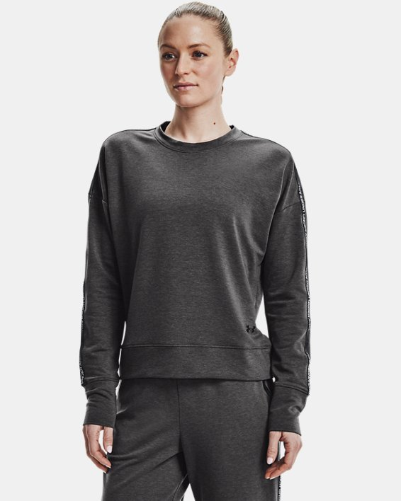 Women's UA Rival Terry Taped Crew, Gray, pdpMainDesktop image number 1