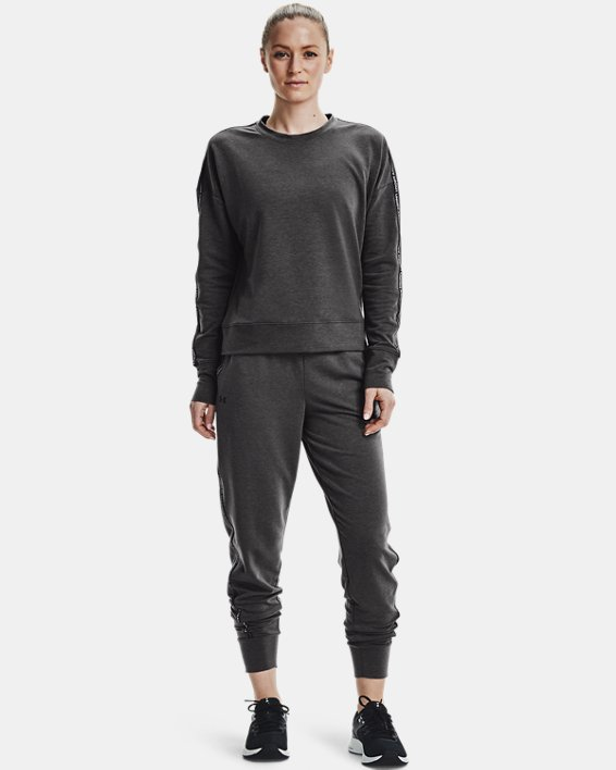 Women's UA Rival Terry Taped Crew, Gray, pdpMainDesktop image number 0