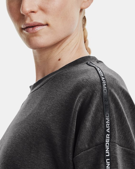 Women's UA Rival Terry Taped Crew, Gray, pdpMainDesktop image number 3