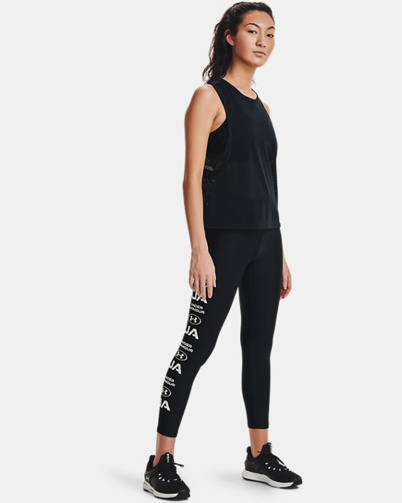 Women's HeatGear® Armour No-Slip Waistband Graphic Ankle Leggings, Black, pdpMainDesktop image number 0