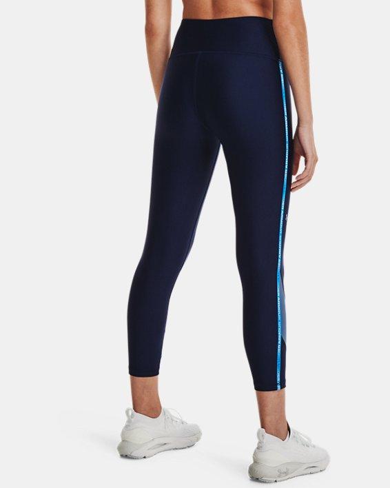 Women's HeatGear® Armour No-Slip Waistband Taped Ankle Leggings, Navy, pdpMainDesktop image number 2