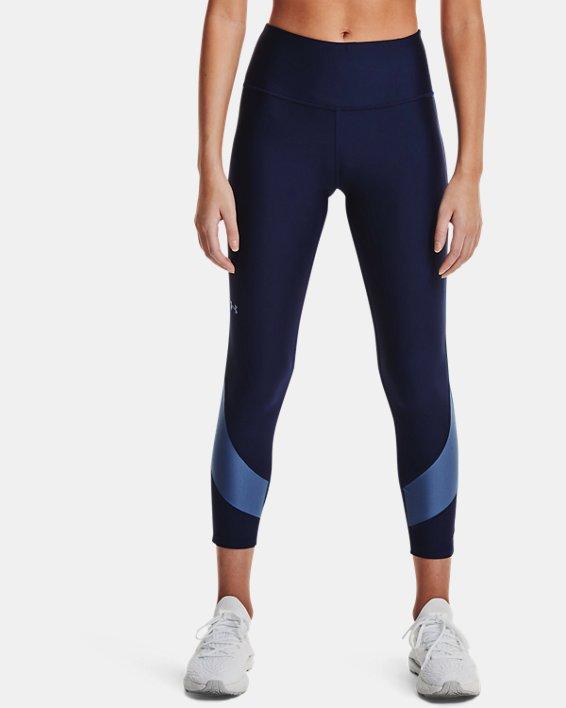 Women's HeatGear® Armour No-Slip Waistband Taped Ankle Leggings, Navy, pdpMainDesktop image number 1