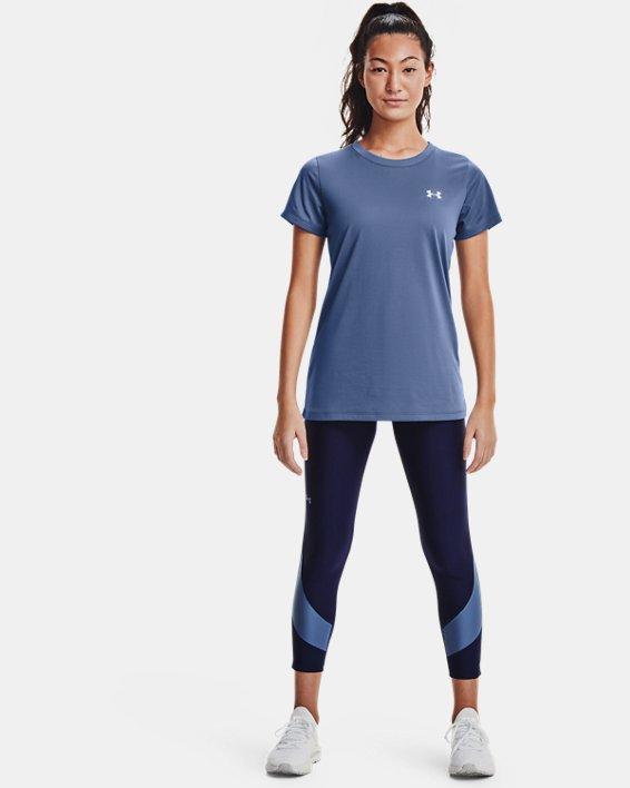 Women's HeatGear® Armour No-Slip Waistband Taped Ankle Leggings, Navy, pdpMainDesktop image number 0
