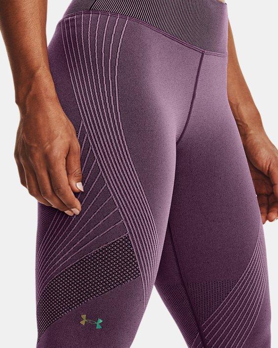 Women's UA RUSH™ Seamless Ankle Leggings, Purple, pdpMainDesktop image number 3