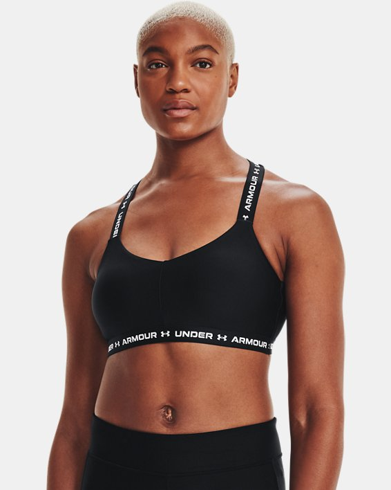 Women's UA Crossback Low Sports Bra, Black, pdpMainDesktop image number 2