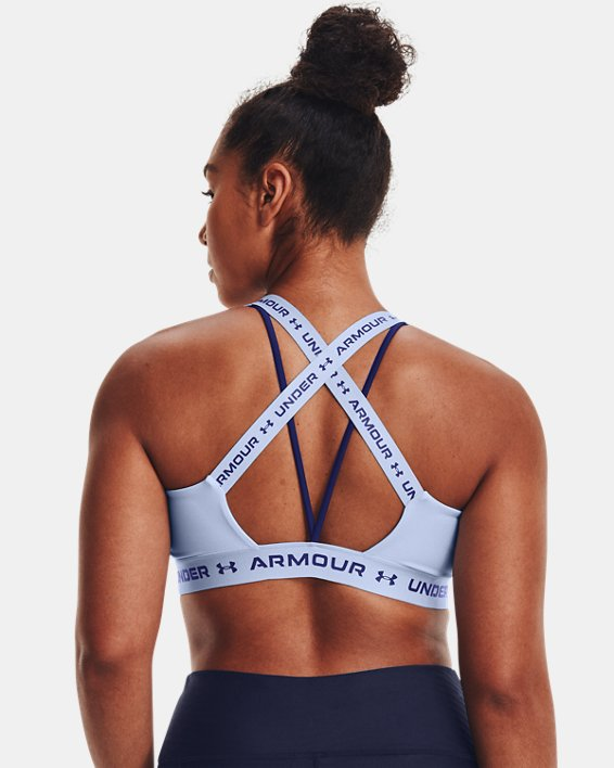 Damen UA Crossback Low Sport-BH, Blue, pdpMainDesktop image number 6