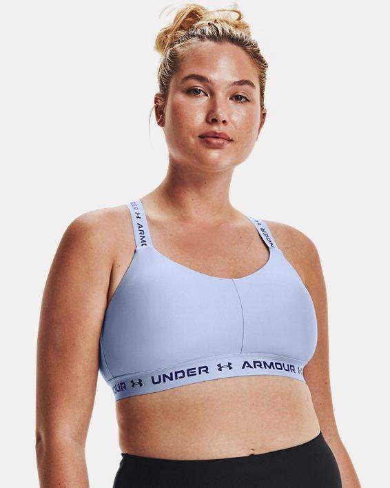 Damen UA Crossback Low Sport-BH, Blue, pdpMainDesktop image number 4