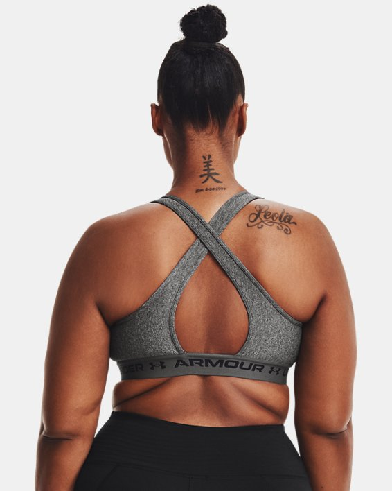 Women's Armour® Mid Crossback Heather Sports Bra, Gray, pdpMainDesktop image number 6