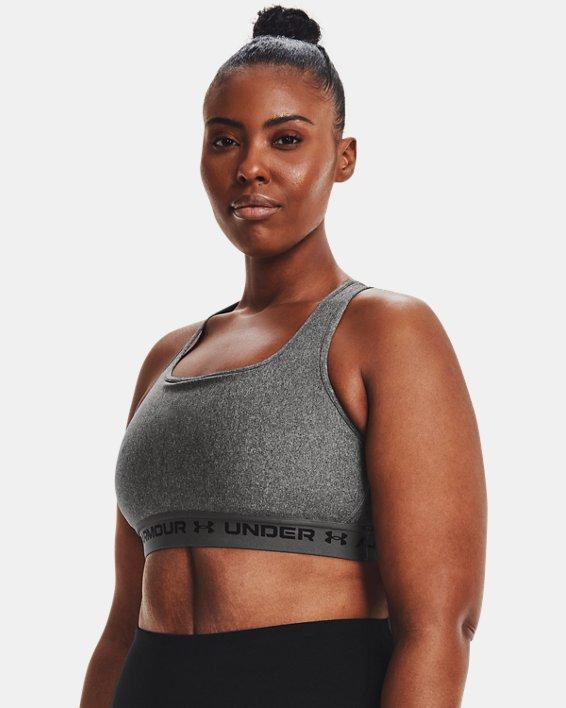 Women's Armour® Mid Crossback Heather Sports Bra, Gray, pdpMainDesktop image number 3