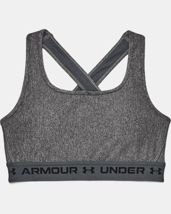 Women's Armour® Mid Crossback Heather Sports Bra, Gray, pdpMainDesktop image number 8