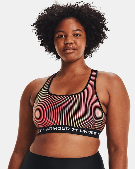 Women's Armour® Mid Crossback Printed Sports Bra, Black, pdpMainDesktop image number 3