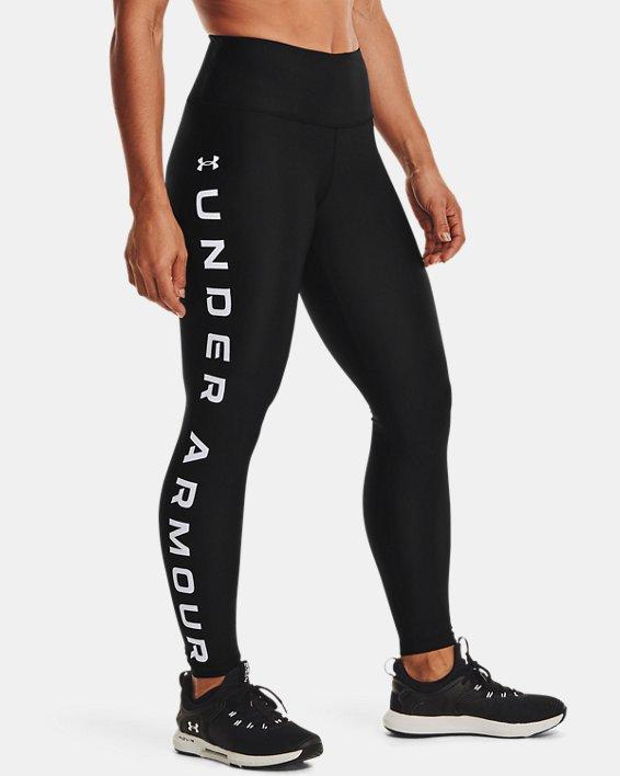 Leggings HeatGear® Armour No-Slip Waistband Branded Full-Length da donna, Black, pdpMainDesktop image number 1