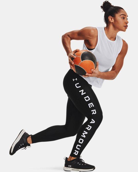 Leggings HeatGear® Armour No-Slip Waistband Branded Full-Length da donna, Black, pdpMainDesktop image number 6