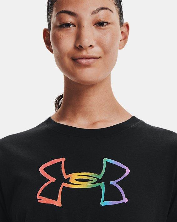 Damen UA Pride Graphic Kurzarm-Oberteil, Black, pdpMainDesktop image number 2