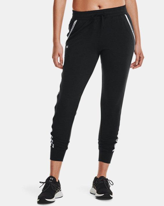 Women's UA Rival Terry Taped Pants, Black, pdpMainDesktop image number 1