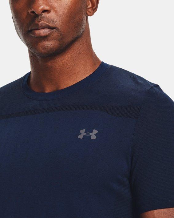 Men's UA Seamless Short Sleeve, Navy, pdpMainDesktop image number 3