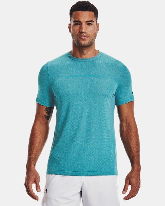 Camiseta de manga corta UA RUSH™ Seamless Strength para hombre, Blue, pdpMainDesktop image number 1