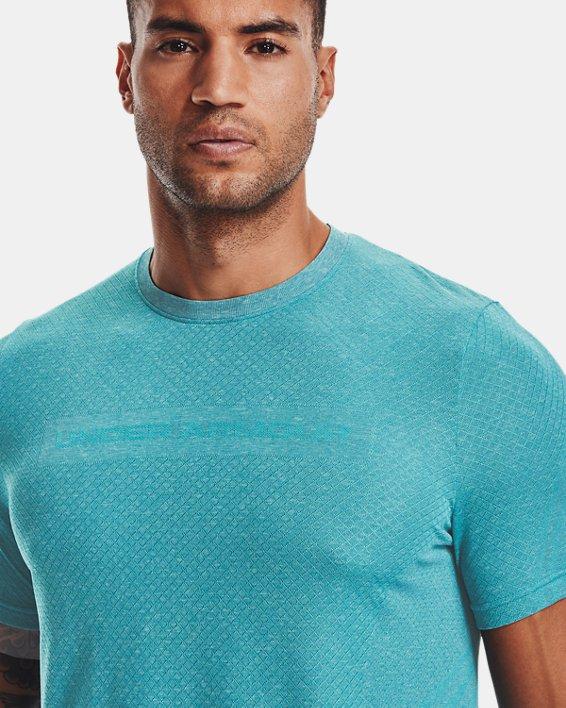 Camiseta de manga corta UA RUSH™ Seamless Strength para hombre, Blue, pdpMainDesktop image number 3