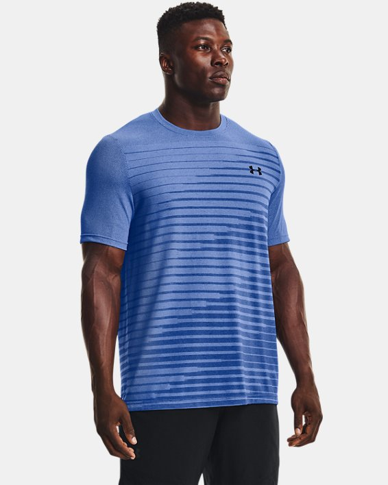 Men's UA Seamless Fade Short Sleeve, Blue, pdpMainDesktop image number 0