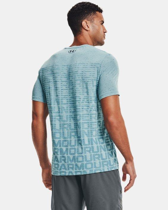 Men's UA Seamless Wordmark Short Sleeve, Blue, pdpMainDesktop image number 2