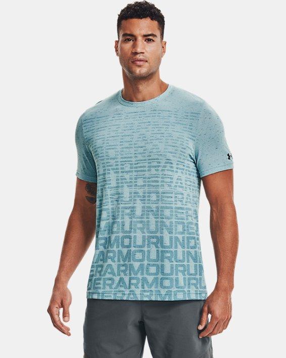 Men's UA Seamless Wordmark Short Sleeve, Blue, pdpMainDesktop image number 1