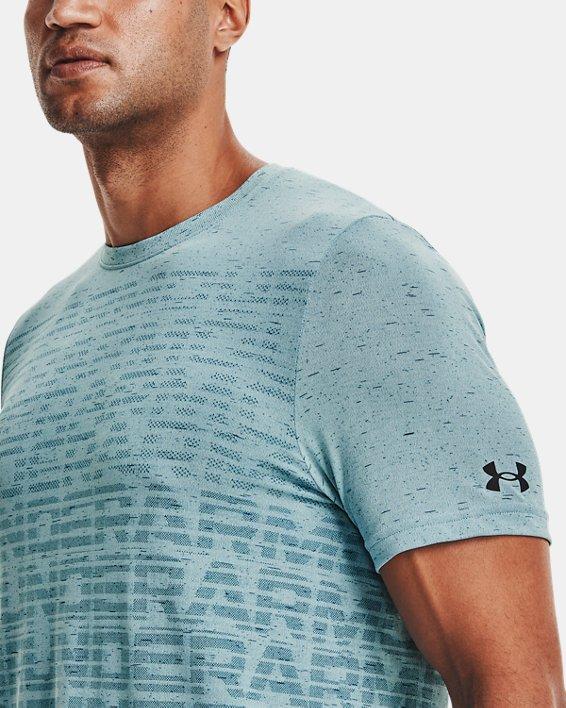Men's UA Seamless Wordmark Short Sleeve, Blue, pdpMainDesktop image number 3