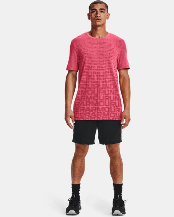 Men's UA Seamless Wordmark Short Sleeve, Pink, pdpMainDesktop image number 0