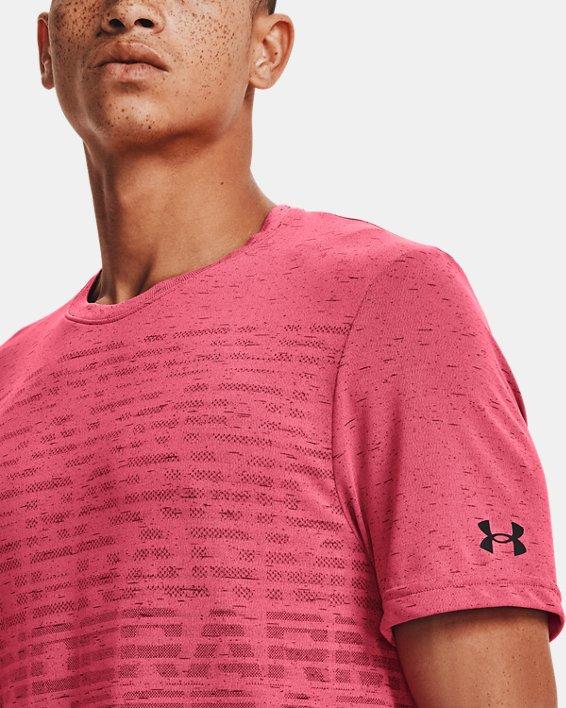 Men's UA Seamless Wordmark Short Sleeve, Pink, pdpMainDesktop image number 3