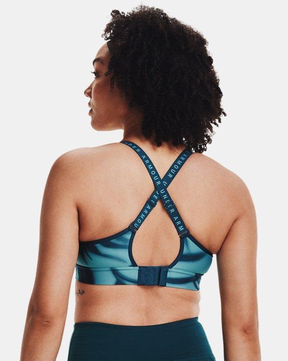Women's UA Infinity Mid Printed Sports Bra, Blue, pdpMainDesktop image number 7