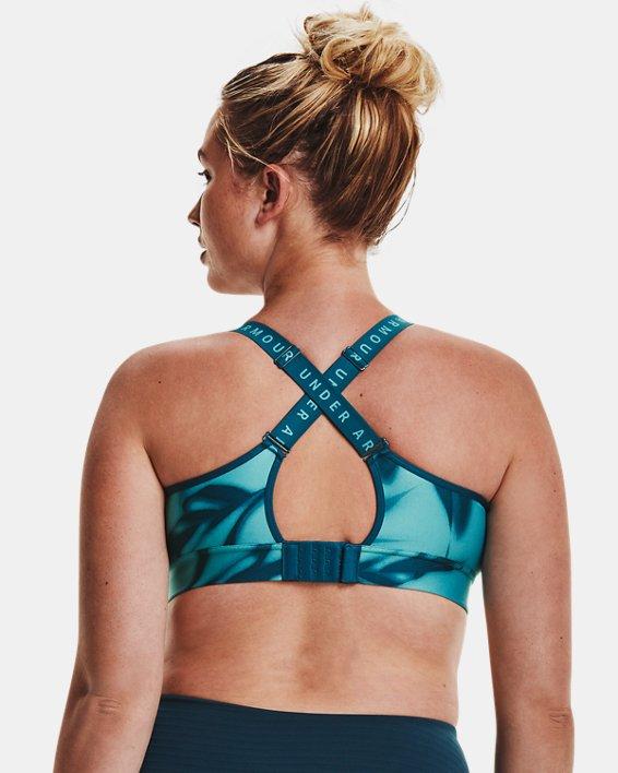 Women's UA Infinity Mid Printed Sports Bra, Blue, pdpMainDesktop image number 9