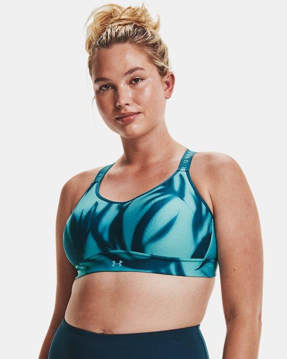 Women's UA Infinity Mid Printed Sports Bra, Blue, pdpMainDesktop image number 6