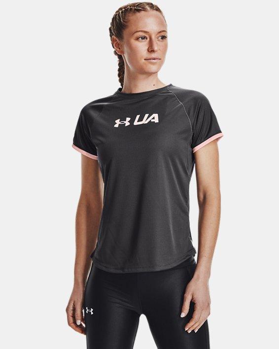 Women's UA Speed Stride Graphic Short Sleeve, Gray, pdpMainDesktop image number 1