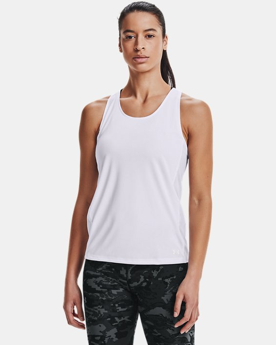 Women's UA Fly-By Tank, White, pdpMainDesktop image number 2
