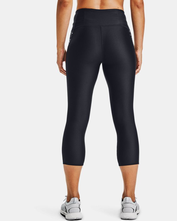 Women's HeatGear® Armour Print Inset Capris, Black, pdpMainDesktop image number 2
