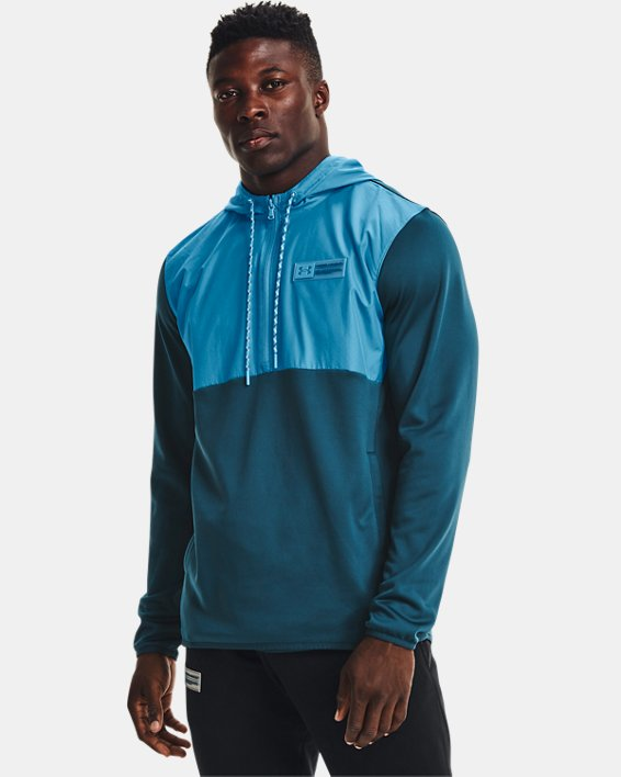 Men's Armour Fleece® Storm ½ Zip Hoodie, Blue, pdpMainDesktop image number 0